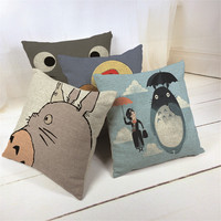 Hayao Miyazaki Style 45*45cm Home Decorative Pillow Totoro Printed Throw Pillow Car Home Decor Linen Cotton Cushion Cojines