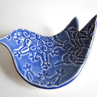 Blue Bird Ring dish, ring bowl, spoon rest, candle holder, soap dish, Wedding ring holder, Ceramic pottery