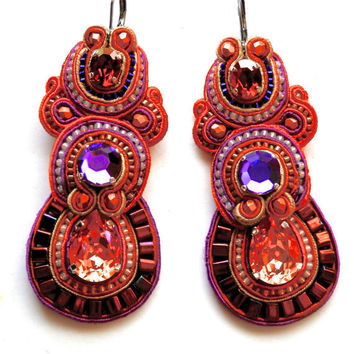 Fight FIRE WITH FIRE soutache earrings in orange, purple and pink with Swarovski crystals