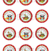 Christmas stickers. Christmas cupcake topper.Christmas tags, stickers, labels, envelope seals. 2'' circles. Digital file.