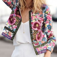 Floral Print Long Sleeve Cropped Coat