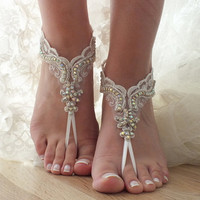 Rhinestoneand lace sandals  anklet,  Beach wedding barefoot sandals,  Barefoot Sandals, Sexy, Bridal sandals, wedding barefoot sandals