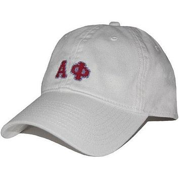 Alpha Phi Needlepoint Hat in White by Smathers & Branson