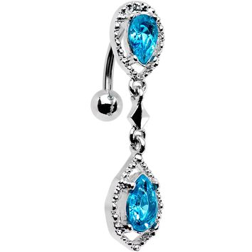 Aqua Gem Twin Top Mount Dangle Belly Ring