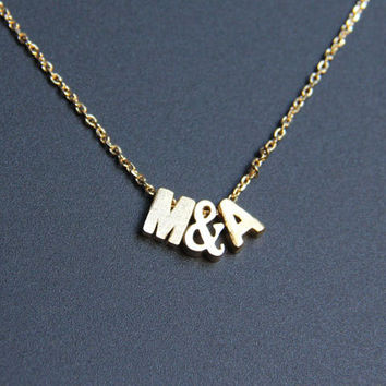 Personalized Necklace with Small Gold Letters, 3D Initial, Minimalist Necklace, Everyday Jewelry, Wedding Jewelry, Bridemaid gift, JEW000257