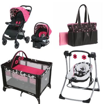 Graco Pink Baby Gear Bundle, Stroller Travel System, Play Yard, Swing, and Diaper Bag