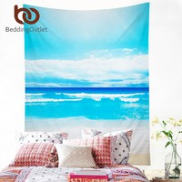 BeddingOutlet Beach Tapestry Blue Sea Printed Wall Carpet Home Hanging Wall Tapestries Polyester Picnic Sheet 130x150 150x200cm