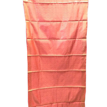 2 India Sari Curtains Peach Pink Brocade Silk Saree Drapes Window Treatment