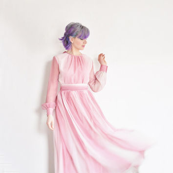 pink ombre 1970 gown . sheer pastel layers . hostess party dress .extra small.small.xs