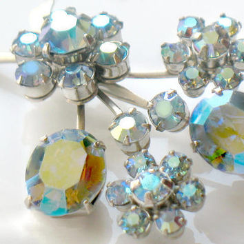 Flashy Coro Brooch Earrings Rhinestone AB Aurora Borealis Blue Flower Pin Clip On Signed Vintage Collectible Jewelry