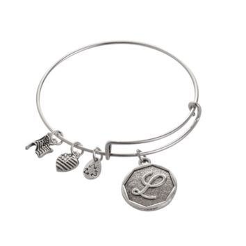"Alex and Ani style letter ""L"" pendant charm bracelet,a perfect gift !"
