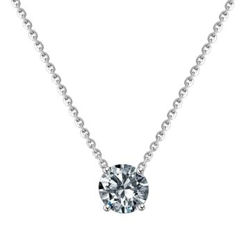 1CT Round Simulated Diamond - Diamond Veneer Sterling Silver Stationary Double Sided Chain Solitaire Pendant 635P100MK