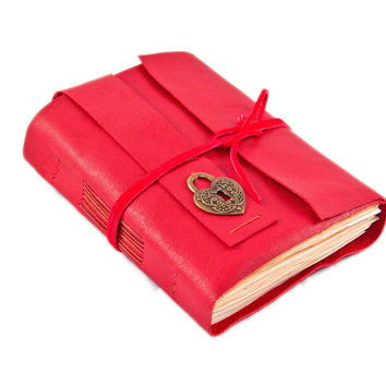 Red Leather Journal with Tea Stained Paper and Heart Bookmark - Ready to ship