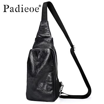 Crossbody Bag Men Genuine Cow Leather Sling Bag Casual Chest Pack New Fashion Shoulder Messenger Bags