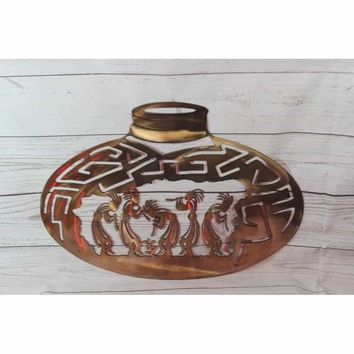 Kokopelli Pottery Jug Metal Wall Art