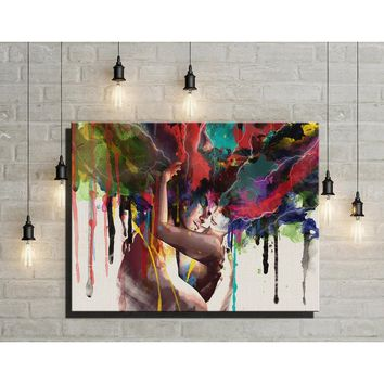 Original New Home Decor Art HD Print Oil Painting on Canvas,XM137,Abstract Lovers,Couples hugging  Modern Art