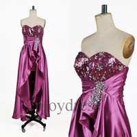 Custom Hi Low Beaded Long Prom Dresses Formal Evening Gowns Wedding Party Dresses Fashion Party Dresses Bridesmaid Dresses Evening Dress