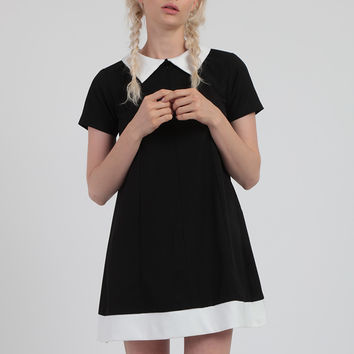 Babydoll Black Dress With Peter Pan Collar