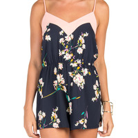 Solid Trim Floral Romper - Large