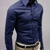 Purplish Blue Turn-down Long Sleeves Shirt