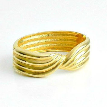 Vintage Clamper Bracelet, Gold Tone Bangle Bracelet