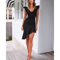 roll the dice flutter sleeve asymmetrical hem dress in black