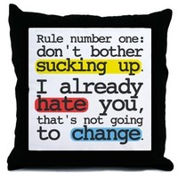 """""""RULE NUMBER ONE"""" THROW PILLOW"""