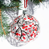 Christmas Ornaments, Hand Painted Glass Ornaments, Christmas Ball, Red Berries Ornaments, Christmas Decoration