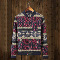 Vintage Floral Print Men's Lightweight Baseball Jacket