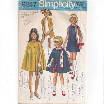 Simplicity 9247 Pattern for Girls' Dress, Cape, & Scarf, Size 8, From 1970, Short Sleeve Dress, Lined Cape for Costumes, Vintage Pattern
