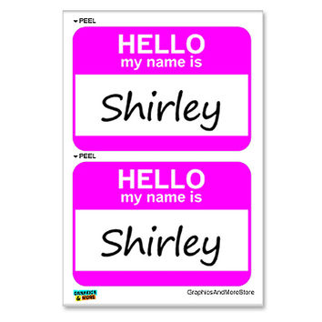 Shirley Hello My Name Is - Sheet of 2 Stickers