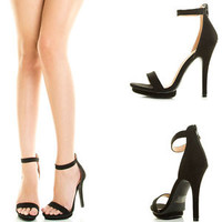 New Black Open Toe Ankle Strap High Stiletto Heel Low Platform Women Pump Sandal