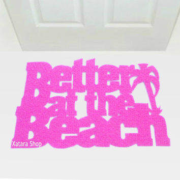 Cool doormat: Better at the beach with a palm tree. Decor your holiday home