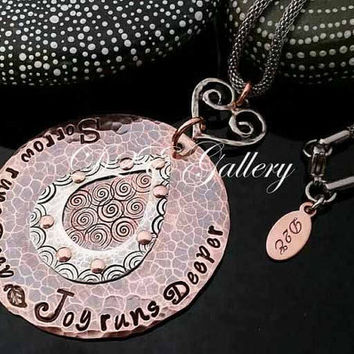 """D2E hand stamped mixed metal  statement necklace Riveted copper and silver """"Sorrow runs deep Joy runs deeper"""" with heart connector"""