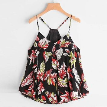 Leaves Printed Casual Sleeveless Crop Top
