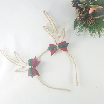 Gold Antlers Headband - Christmas Headband - X-mas Headband - Holiday Adult Headband -Tacky Sweater Party - Kawaii Headband - Deer Antlers