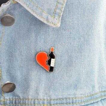 Trendy 2 pcs/pair cartoon bottle heart metal badge brooch button pins denim jacket pin jewelry decoration badge for clothes lapel pins AT_94_13