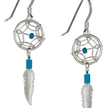 Sterling Silver Small Simulated Turquoise Dreamcatcher Earrings With Feather