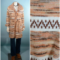 70s Southwestern Boho Chic Vintage Sweater Coat/ Hipster Grunge Duster Cardigan/ Cream Tan Long Sweater Jacket Coat + Belt  SZ M
