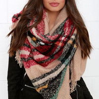 Neighborhood News Red and Beige Plaid Scarf