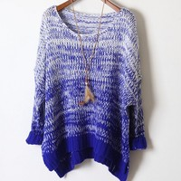 Gradient retro sweater loose bat  BABBC