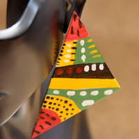 Tribal Painted Triangle Earrings, Wooden Painted Earrings, Hand Painted Earrings, African Earrings