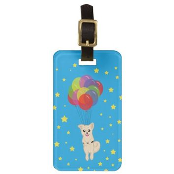 Puppy with Balloons Luggage Tag