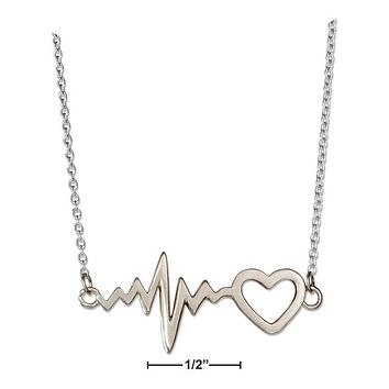"Sterling Silver Necklace:  16""-18"" Adjustable Heart And Heartbeat Necklace"