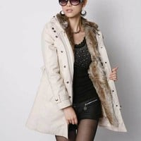 Parka Jacket :Thick Faux Fur & Cotton Hooded Parka Jacket