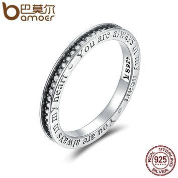 925 Sterling Silver You are Always in MY Heart Letter Pave CZ Finger Rings for Women Wedding Engagement Jewelry SCR159