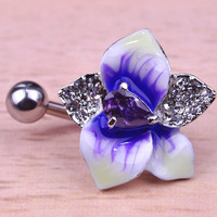 Fashion Enamel Esmalte Violetta Zircon Flowers Navel Piercings Belly Button Rings Bikini Women Girl Body Jewelry Bijoux Nombril -03324