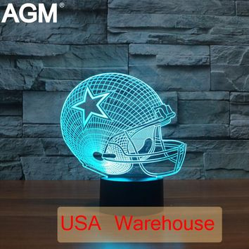 NFL Football Dallas Cowboy Lions 3D lamp Night Light USB LED Touch NightLight 7 Colors Changing Acrylic For Children Gift Toys