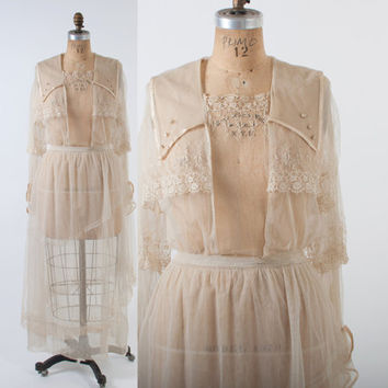 Vintage LACE Tea DRESS / 1910s Ivory Net & Crochet Edwardian Wedding GOWN M