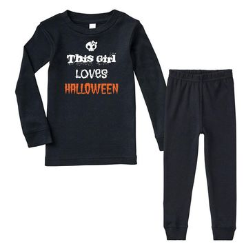 this girl loves halloween Infant long sleeve pajama set